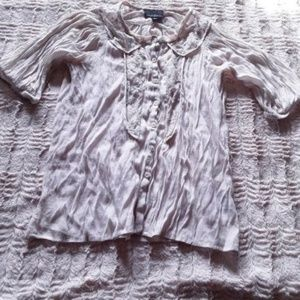 Cynthia Rowley Off White Button Down Lace Blouse S